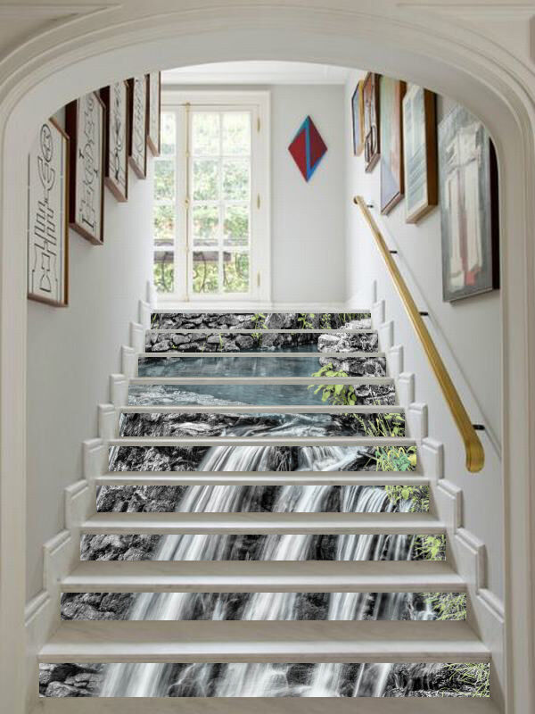 3D Fließen Fluss 5 Stair Risers Dekoration Fototapete Vinyl Aufkleber Tapete DE
