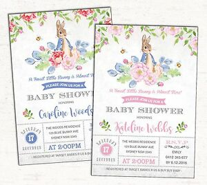Peter Rabbit Baby Shower Invitation Boy Girl Bunny Party Invite