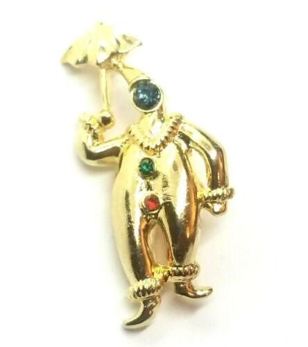 VTG Signed JJ Jonette Jewelry Gold Tone Rhinestone