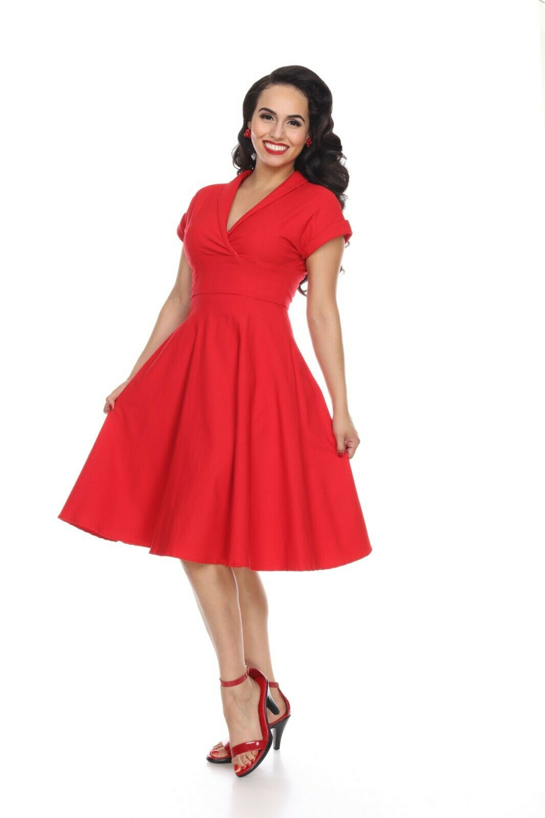 Bettie Page Meet Me at the Watercooler Dress - rot