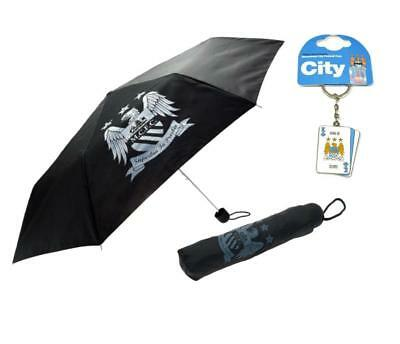 FREE Keyring New Official Manchester City FC Telescopic Compact Umbrella