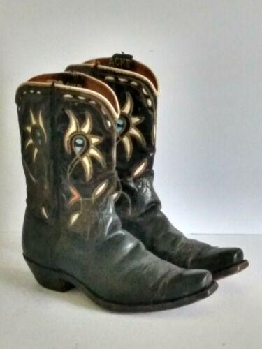 Vintage Acme Mens Size 91/2 D Colorful Leather Inl