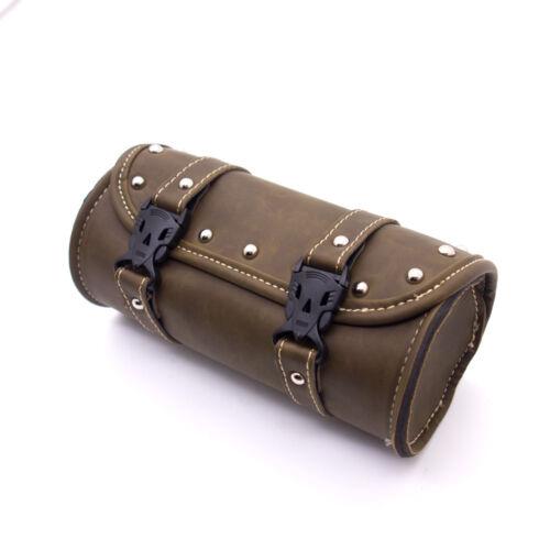 Motorcycle Mini Retro PU leather Tool Bag Handlebar Sissy Bar Saddlebag Roll bag