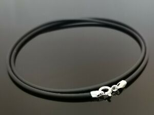 """2mm Navy Blue Leather Sterling Silver Necklace Or Wristband 16/"""" 18/"""" 20/"""" 22/"""" 24/"""""""