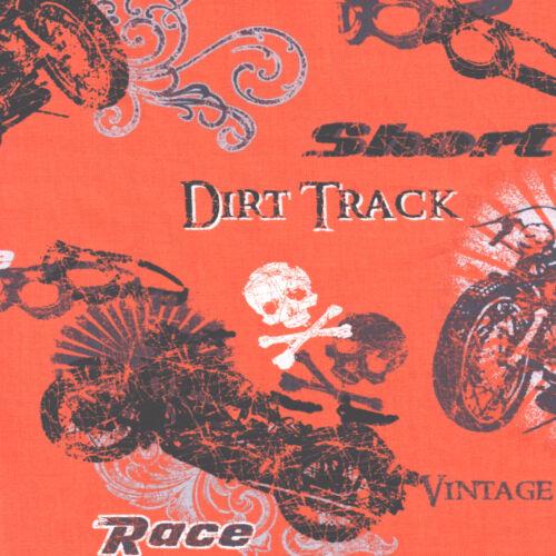 Half Metre Quilting Fabric ~ Retro Rider ~ Biker Collage ~ Orange