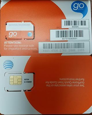 New Wholesale Lot Of 50 At T Go Phone Prepaid Sim Card Sku 6006a