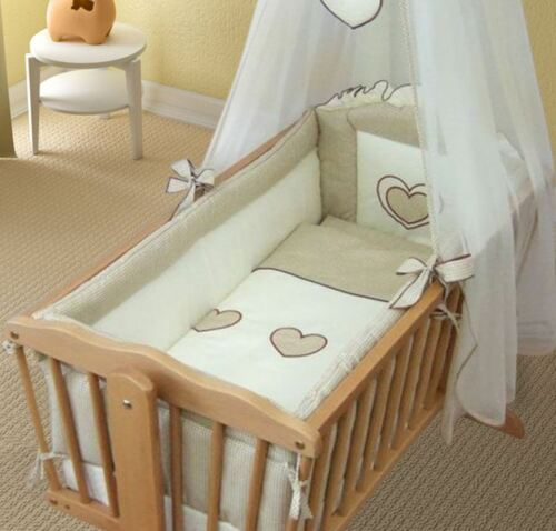 Crib All Round Bumper 260cm Long Covers 4 Sided of Cradle 90x40 cm Heart