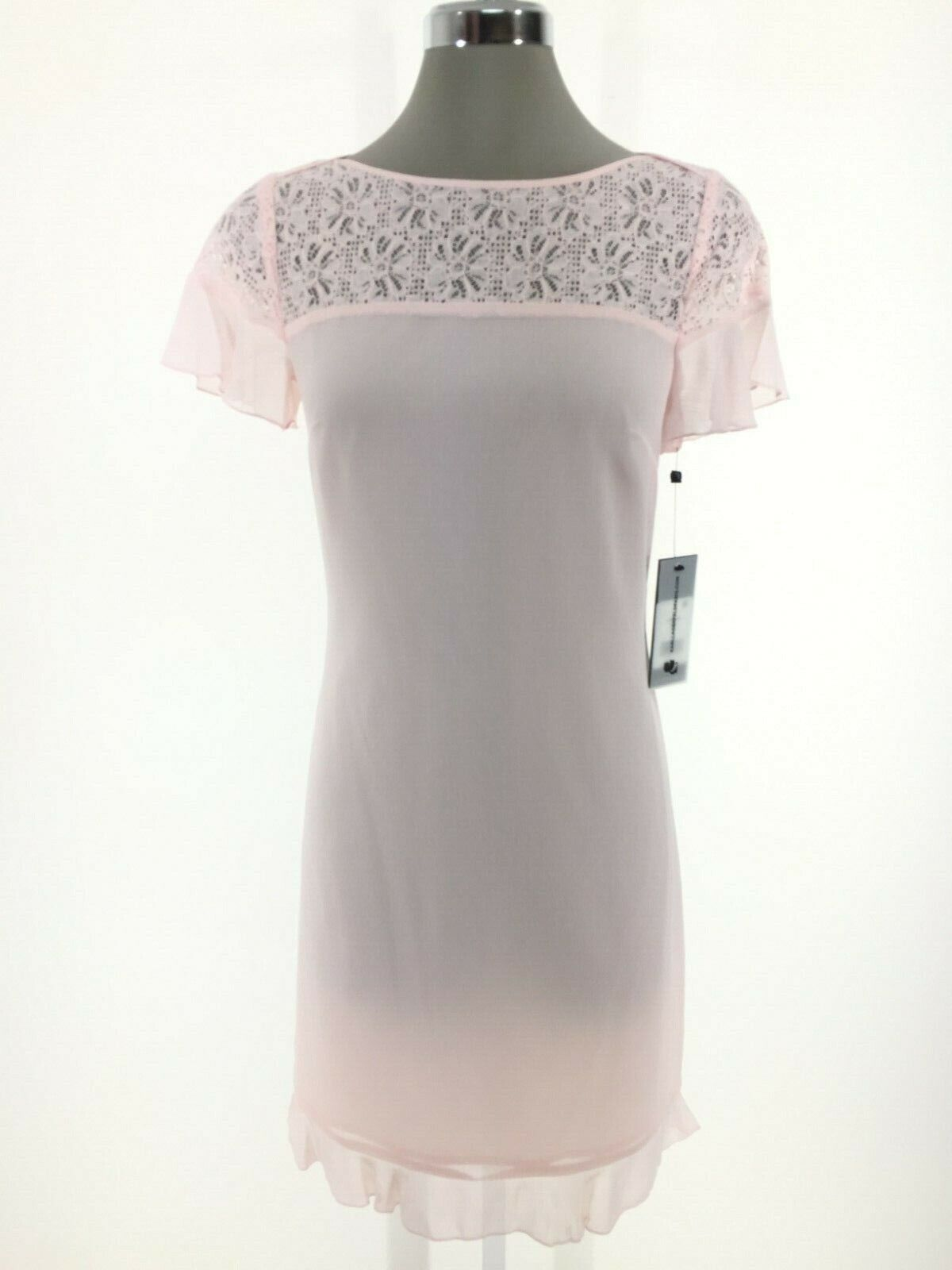 KARL LAGERFELD NEW Elegance @ its Beste pink CREPE w Lace Top DRESS size 0,2,6