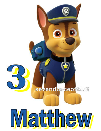 AGE NEW PERSONALIZED PAW PATROL CHASE POLICE PUP T SHIRT BIRTHDAY TEE ADD NAME