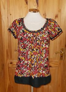 Pink Short Top Floral Red 38 Sleeve Black White Monsoon Tunic 10 Blouse Yellow EnwOUERq