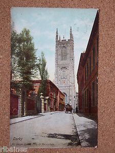 Vintage-Postcard-All-St-Church-from-St-Mary-039-s-Gate-Derby-1906