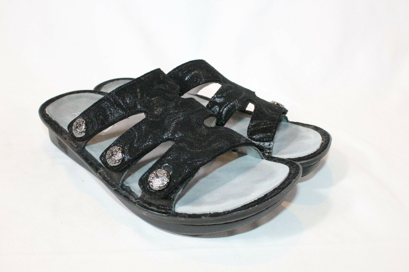 Alegria 36 6 6.5 slickery black Leather Slip on Sandals w  Strap Detail Venice