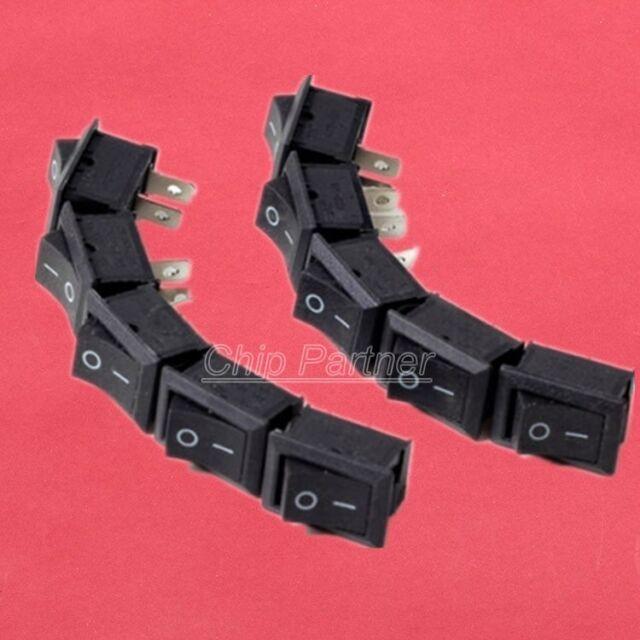 10pcs Black Rocker Switch KCD1-101 250V 6A Boatlike Switch 2PIN