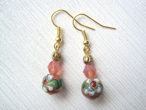 CORAL PINK CLOISONNÉ FLOWER BALL Crystal Glass Opaque Bead GP Drop Earrings Gift