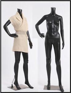Schaufensterpuppen weiblich ohne Kopf Schwarz Matt sitzend