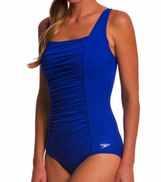 09fbcd3faf SPEEDO Endurance Shirred Tank Atlantic Blue 1 pc Swim Suit Womens Sz 6 10  12 16