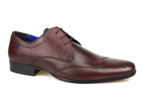 Mens Red Tape Gala Bordo Red Leather Lace Up Brogue Formal Smart Sizes UK 7-12
