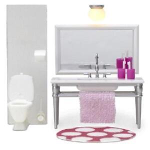Lundby Smaland 1:18 Dolls House Bathroom Furniture Sink Unit and Toilet Set