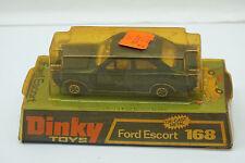 VINTAGE DINKY TOYS CAR FORD ESCORT 168 BLUE WITH ORIGINAL BOX DIECAST MECCANO