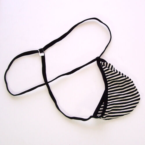 K204 C String Thong Posing Pouch Teardrop Contoured Pouch Cotton Striped