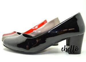 huge discount 7ac53 4e064 Dettagli su Ballerine con tacco vernice effetto lucido scarpe donna comode  eleganti
