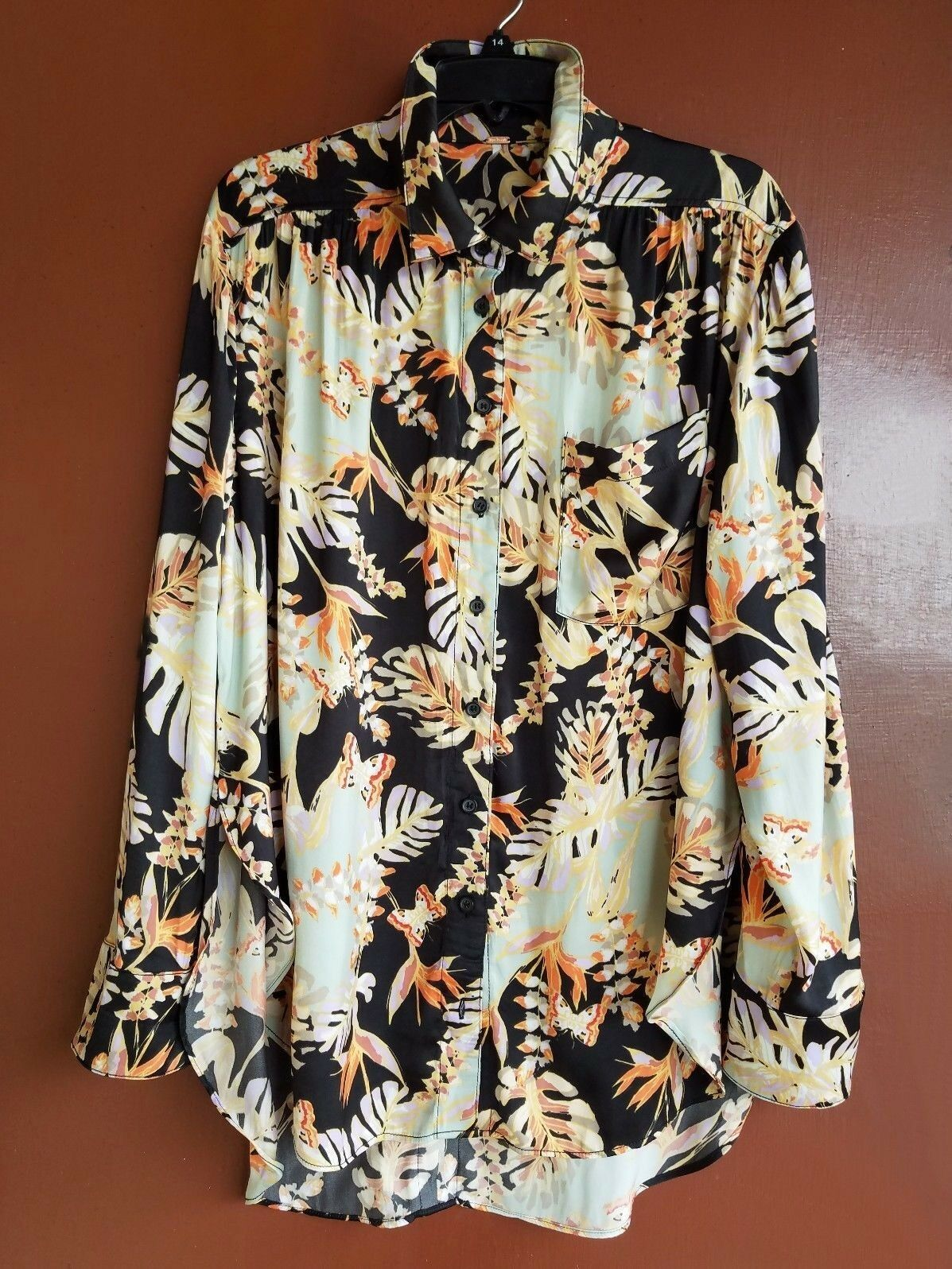NWT FREE PEOPLE TROPICAL BUTTON DOWN MULTI COLOR LONG SLEEVE L TOP