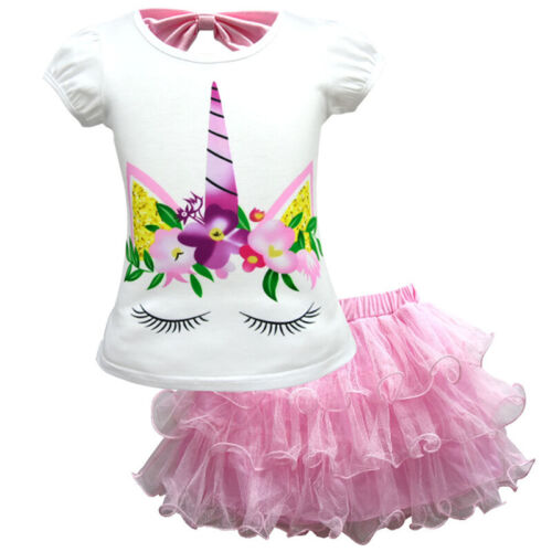 UK Girl Unicorn Princess Dress Rainbow Birthday Party T Shirt Tutu Tulle Skirts