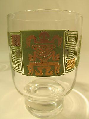 MCM 4- Aztec/Mayan Medicine Man/Dragon  Pedestal Rocks Barware Glasses Mad Men!
