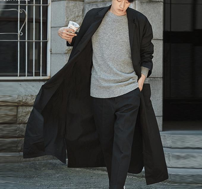 New Men Korean Full Length Trench Coat Casual Loose Overcoat Coat Size S-3XL@@