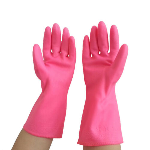 Gloves Household Garden Outdoor Washing Cleaning Rubber Latex Flock Lined