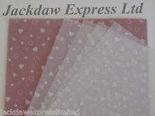 25 Blatt 100gsm A4 Lichtdurchlässig Pergament Papier - weiß Herz Design AM527