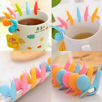 5pcs Novelty Snail Shape Silicone Tea Bag Holder Cup Mug Candy Colors Set Lots