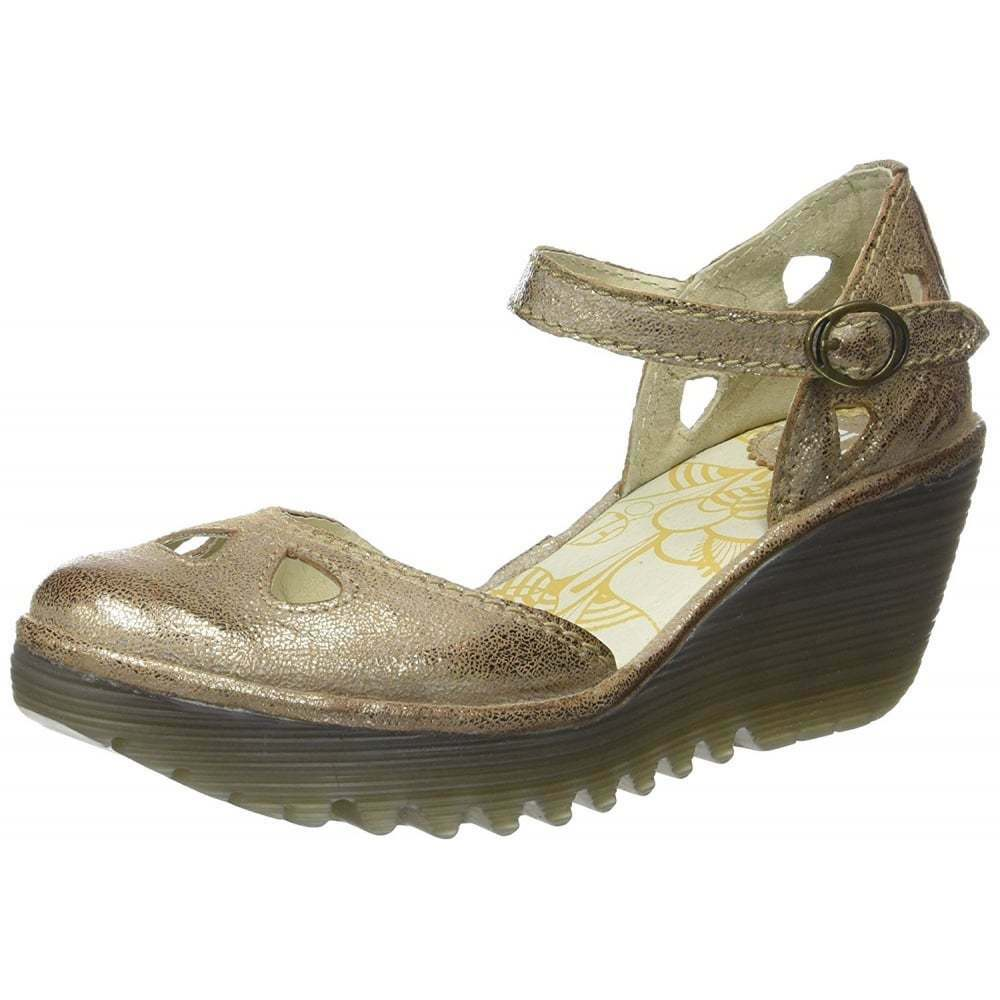 Donna Fly London Yuna Mary Jane zeppa sandali  pelle pieno NERO LUNA NUOVO  preferenziale