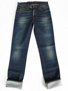 B-Ware-Nudie-Herren-Slim-Fit-Jeans-Hose-Slim-Jim-White-Embo-W31-L36