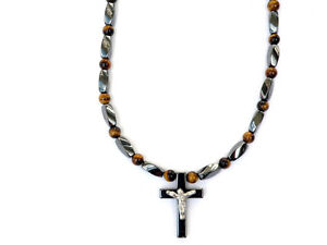 Men/'s Women/'s MAGNETIC Hematite Crucifix Cross Pendant Necklace TIGER EYE Power