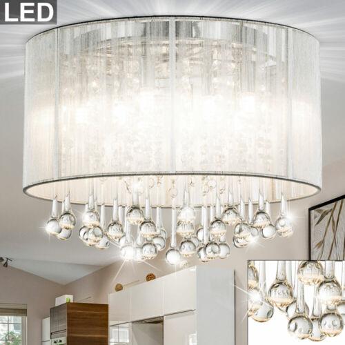 LED Decken Leuchte Ess-Zimmer Lampe Schlaf-Raum Glas Kristall Seide Kronleuchter