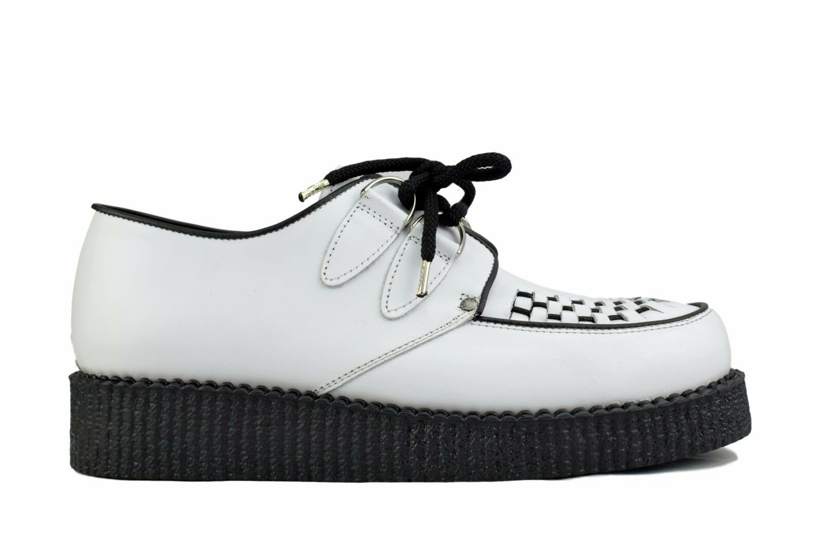Steel Ground Schuhes WEISS Leder Creepers Low Sole D Ring Casual Sc400Z21
