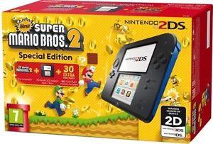 NUOVO-Nintendo-2DS-CONSOLE-PORTATILE-CON-Bros-2-Super-Mario-Nero-Blu