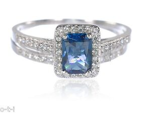 Emerald-Cut-Tanzanite-w-White-Sapphire-CZ-Engagement-Wedding-Silver-Ring-Set