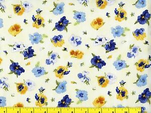 Blue Yellow Pansy Flowers On Cream Pansies Quilting Fabric By Yard