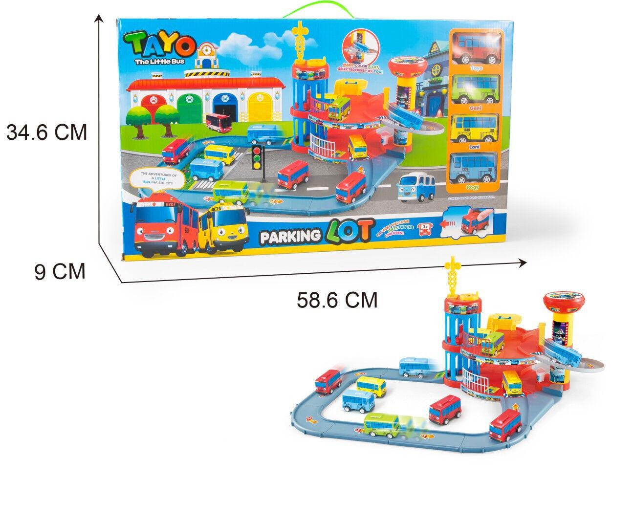 1 SET TAYO Il parcheggio con doppio autoautoautobus con 4 auto giocattoli Regalo per bambini