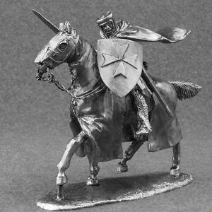 Medieval-Knight-Hospitaller-Cavalry-1-32-Miniature-Horseman-Tin-Toy-Soldier-54mm