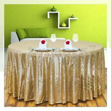 Gold Sparkly Sequin Table Cloth Cover For Wedding/Event/Party/Banquet 128x115cm