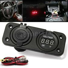 Car Cigarette Lighter Power Socket Voltmeter Adapter Dual USB Ports Charger 12V