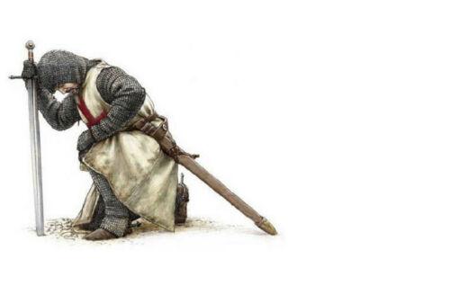 Encadrée Imprimer-Templiers agenouillée à son épée Photo Poster fighter art
