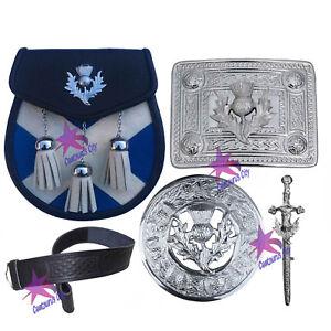 Cc Écossais Kilt Sporrans Sautoir Chardon Crest Kilt Boucle De Ceinture/broche 5 Pcs Set-afficher Le Titre D'origine Gamme ComplèTe D'Articles