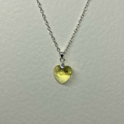 SMALL HEART EARRINGS PENDANT set FACETED PALE YELLOW GLASS SILVER PLATED CHAIN