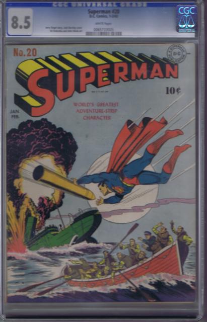 Superman #20 DC 1943 ,CGC 8.5 (VERY FINE +) Jack Burnley Cover