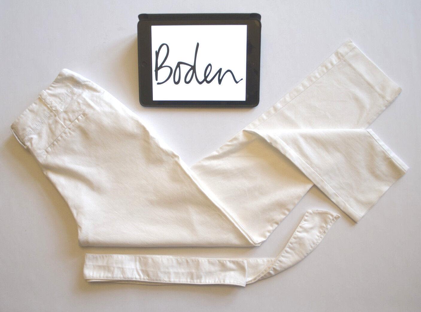 Boden Womens White Cropped Pants Waist Tie Richmond Style Sz 8L W28 L28