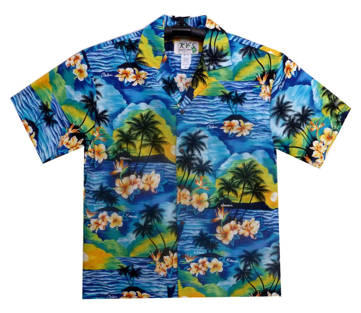 Ky 'S ORIGINALE Camicia Hawaii, Blu isole Hawaii, s-3xl - disponibilità limitata -